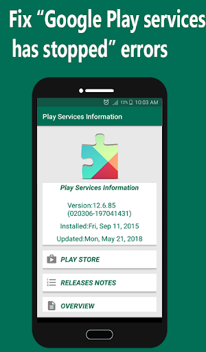 Play Store Play Services Information